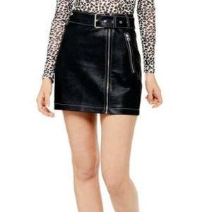 NEW TOPSHOP Black Faux Leather Miniskirt Size 6